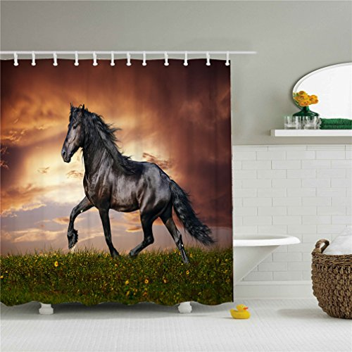 Wings A strong black horse shower curtain in the evening glow 3D printing - Waterproof, Mildew resistant, Machine Washable - Shower Hooks are Included by Wings