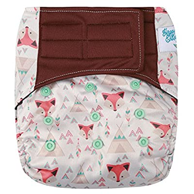 """HappyEndings """"Night, Night""""TM All In One Charcoal Bamboo Hook Loop Closure Cloth Diaper (+Pocket and 5 Layer Charcoal Bamboo Insert)"""