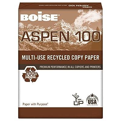 Boise 054922 ASPEN 100% Multi-Use Recycled Paper, 92 Bright, 20lb, 8-1/2 x 11, White