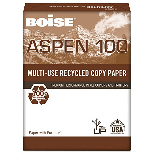 - Boise 054922 ASPEN 100% Multi-Use Recycled Paper, 92 Bright, 20lb, 8-1/2 x 11, White