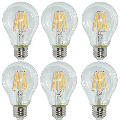 A21 LED Vintage Filament Bulbs, 8W (75W Equivalent), 920 Lumens, 2700K Warm White, 360° Beam Angle, E26 Base Edison Bulb, ETL Listed, Pack of 6
