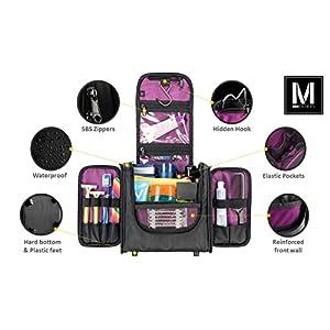 MBM Design Toiletry Bag - Hanging Travel Organizer For Women Cosmetic Makeup And Men Shaving Kit (Black & Purple)