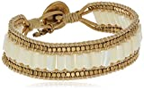 """Lucky Brand Mother-Of-Pearl Beaded Leather Bracelet, 7.5"""""""