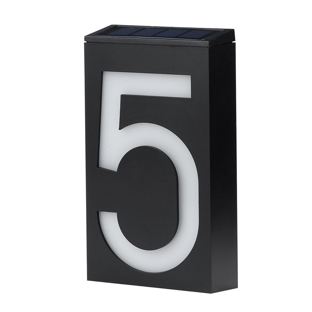 Solar Lighted Address Plaques - Address Sign For Your Home - Bright Custom House Plaque to Help Emergency Responders, Delivery Drivers , and Visitors to Find Your Home Quickly (Number 5)