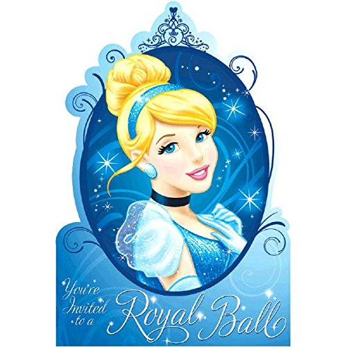 Cinderella Royal Ball Birthday Party Invitation Cards Supply (8 Pack), Blue, 5 7/9