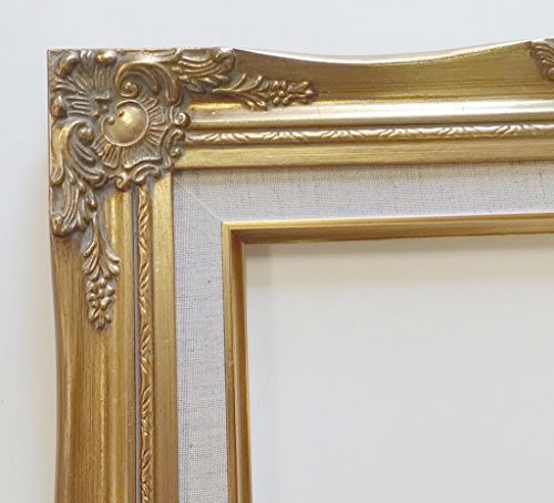 TP Picture Frame-20x24 Old Gold Ornate, Antique-Style, Baroque Shabby Chic with Cream Linen Liner (20x24) Frame ONLY by TP