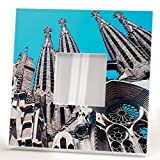 Gaudi Barcelona Sagrada Familia Wall Framed Mirror with Catalan Fan Printed Art Home Decor Gift