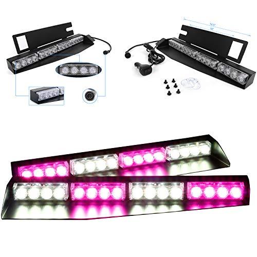 Purple Strobe Light (32W LED Lightbar Visor Light Windshield Emergency Strobe Split Mount Deck Dash Lamp)