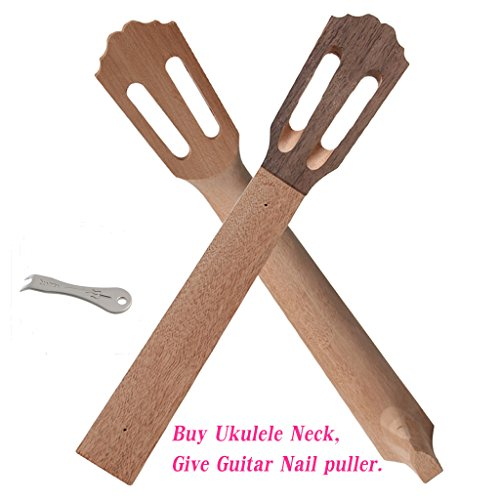 ULKEME 23'' Ukulele Neck Head Replacement Classical Mahogany Concert Koa Wave Shape Part + Guitar Bridge Pins Puller by ULKEME
