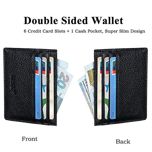 URAQT Leder Slim Wallet, Thin Minimalist Front Tasche Geldbörsen für Männer Kreditkartenetui, RFID Blocking (Schwarz) Schwarz