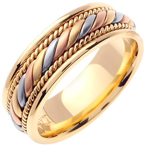 14K Tri Color Gold Braided Coil Twist Men's Comfort Fit Wedding Band (7mm) Size-14c1