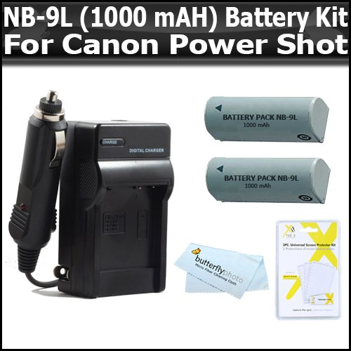 Li 1000mah Extended Ion Battery (Vivitar 2 Pack Battery And Charger Kit For Canon PowerShot SD4500IS SD4500 ELPH 510 HS ELPH 520 HS, ELPH 530 HS Digital Camera Includes 2 Replacement NB-9L (1000 mAH) Lithium-Ion Battery + Ac/Dc Rapid Travel Charger + LCD Screen Protectors)