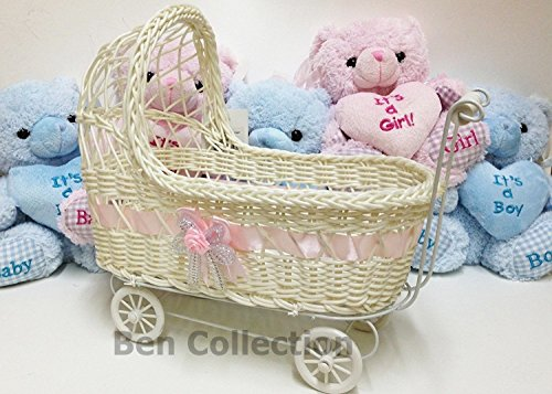 Ben Collection Wicker Baby Girl 11 Inch Carriage - Baby Shower Centerpiece Stroller Party Favors (Pink)