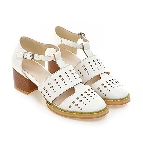 AmoonyFashion Womens Buckle Blend Materials Round Closed Toe Kitten Heels Solid Pumps Shoes White 6HvL2dBv0