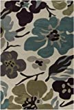 Surya Lava LVA-8018 Contemporary Hand Tufted 100% Polyester Antique White 2'6'' x 8' Floral Runner