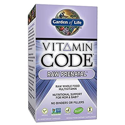 Garden of Life Vegetarian Prenatal Multivitamin Supplement with Folate, Vitamin Code Raw Prenatal Whole Food Vitamin for Mom and Baby, 30 Count