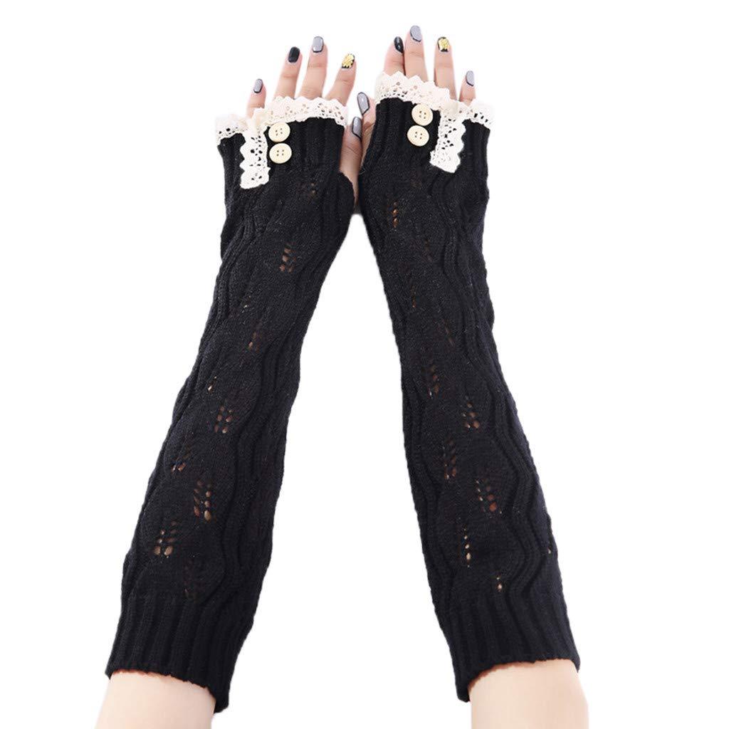 PASATO Women Winter Wrist Arm Warmer Solid Knitted Long Fingerless Gloves Mitten Thumbhole Arm Warmers Mittens(Black,Free Size)