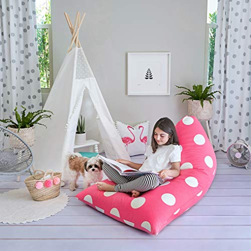 Butterfly Craze Stuffed Animal Storage Bean Bag Chair - Stuff 'n Sit Toy Bag Floor Lounger for Kids, Teens and Adult |Extra Large 200L/52 Gal Capacity |Premium Cotton Canvas (Hot Pink)