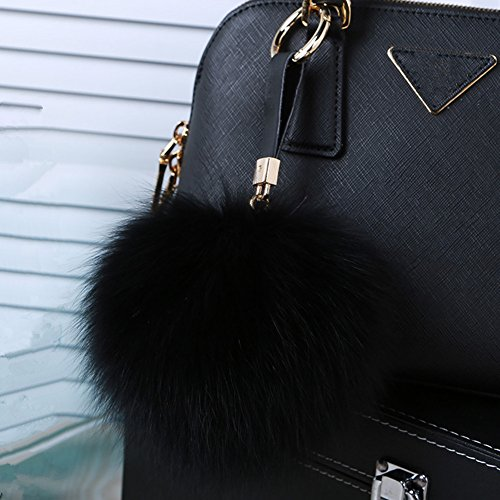 Roniky Newest Large Genuine Fox Fur Pom Pom Keychain Bag Purse Charm Gold Ring Fluffy Fur Ball (5.1/13cm, black)