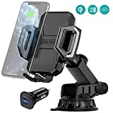 CHOETECH Wireless Car Charger, 10W/7.5W Qi Wireless Fast Charger Car Mount USB-C Phone Holder Compatible with iPhone 11/Pro/Max/XS/Max/X, Galaxy Note 10/S10(36W Dual Car Charger Included)