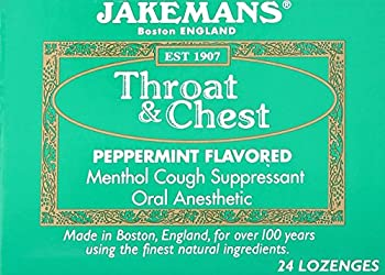 Jakemans Lozenge Throat and Chest, Peppermint, 24 Count
