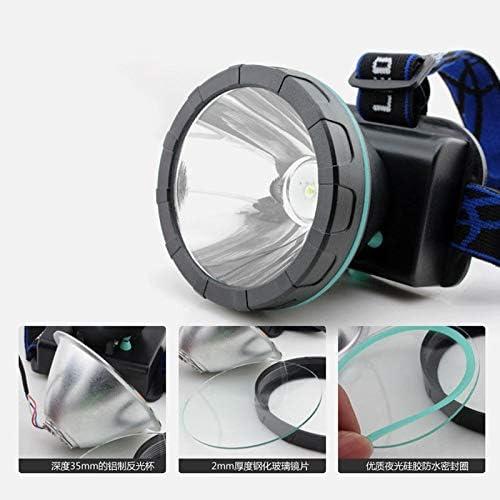 linterna de cabeza de faro luz de pesca recargable con bater/ía amarillo Linterna frontal LED de alta potencia para miner/ía de minero Tianluo color blanco azul
