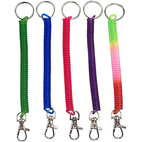 Anti-Theft Stretch Spring Spiral Flexible Plastic Key Chain Ring Waterproof Bright Color Coil Cord Pack of 5