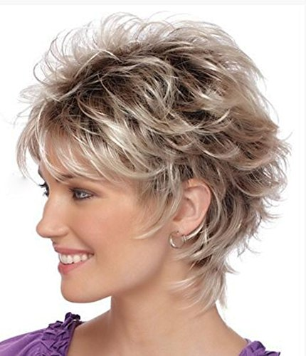 FENCCA Short Curly Wigs for White Women Blonde Bob Hair Wigs Natural Looking Heat Resistant Synthetic Fashion Wig with Wig Cap ( Light Blonde Mixed Red Brown) FC024      -