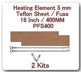 "2 Kits Replacement Elements for Impulse Sealer Pfs-400 16""(2 Heating Elements 5mm +2 Teflon Sheets + 2 Fuses)"