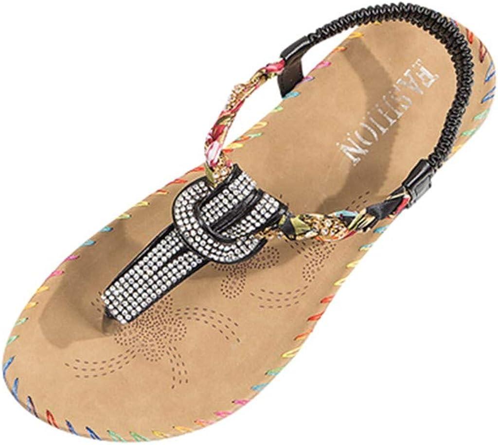POPL Sandalias de Vestir Mujer de Fiesta,Sandalias Mujer Verano 2019 Playa,Zapatillas casa Chica Zapatos Planos Suave y c/ómodo Casual Plano Transpirable Sandalias de Danza 35-40