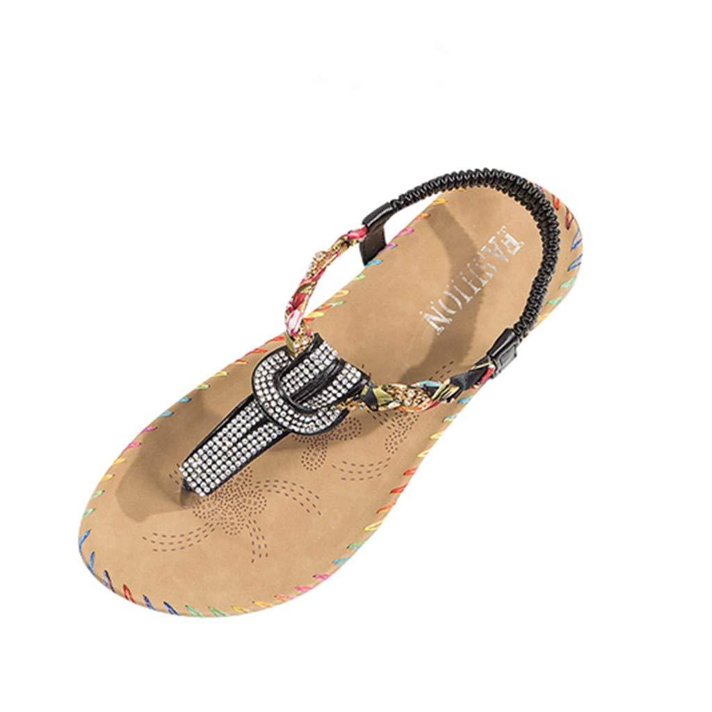 POPL Sandalias de Vestir Mujer de Fiesta,Sandalias Mujer Verano 2019 Playa,Zapatillas casa Chica Zapatos Planos Suave y cómodo Casual Plano Transpirable Sandalias de Danza 35-40