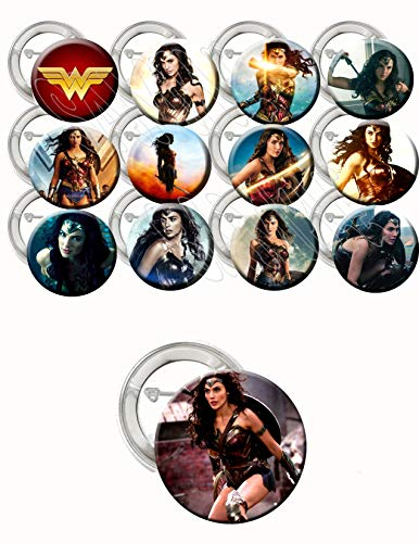 (Wonder Woman Party Favors Supplies Decorations Collectible Metal Pinback Buttons, Large 2.25