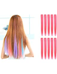 Amazon pink hair extensions extensions wigs onedor 23 inch straight colored party highlight clip pmusecretfo Choice Image