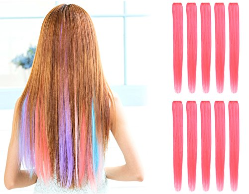 OneDor 23 Inch Colored Party Highlights Straight Hair Clip Extensions. Heat-Resistant Synthetic Hair Extensions in Multiple Colors (10 Pcs Pink) -