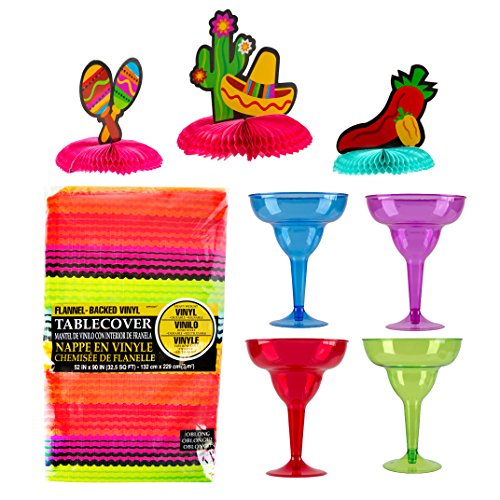 Maven Gifts: Amscan Cocktail Margarita Glasses with Table Cover and Fiesta Mini Centerpiece