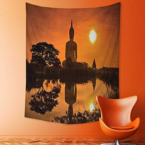 aolankaili Mandala Tapestry Wall Tapestry Bohemian Wall Hanging Big Giant Statue by The River at Sunset Thai Asian Culture Scene Yin Wall Art Wall Decor Beach Tapestry by aolankaili