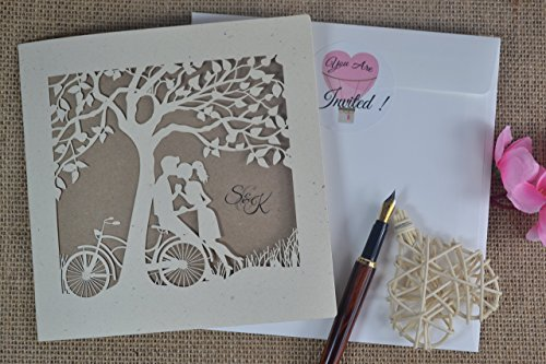 50 Laser cut wedding invitations with envelope by FoxfordAtelier