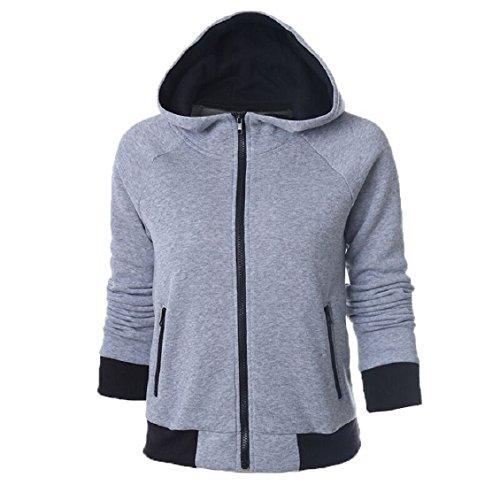 Shirt xl Sweat Coton Tops Manteau Chemisier ® femmes Capuche À Pull Unique Design Transer Femme Jumper s Zipper Casual Manches Longues Gris T1qaWUO
