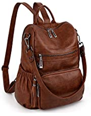 UTO Women 3 Ways Backpack Ladies PU Washed Leather Daypack Rucksack Shoulder Bag Multi Compartment Sturdy Zipper Back Anti Theft Pocket Tassels Decoration