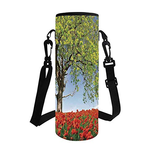 Poppy Stylish Bottle Sleeve,Landscape of Blooming Poppies on Field Majestic Tree Rural Terrain Habitat Photo for Bottle & Vacuum Cup,3.1''L x 3.1''W x - 268 Poppy