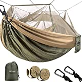 HCcolo Double Camping Hammock with Mosquito Net, 10ft Hammock Tree Straps & Carabiners, Lightweight Nylon Parachute Hammocks for Camping, Travel, Beach, Hiking, Backyard(Hold Up to 440lbs)