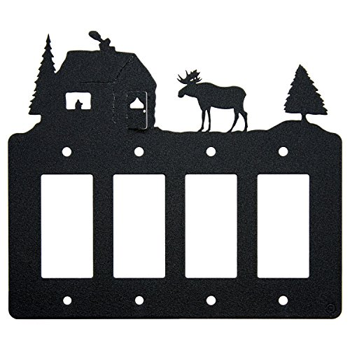 Moose & Cabin Quadruple 4-Gang Rocker Light Switch-GFCI Powe