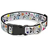 Buckle-Down 18-32' Music Notes Stars White/Black/Multi Color Plastic Clip Collar, Wide Large
