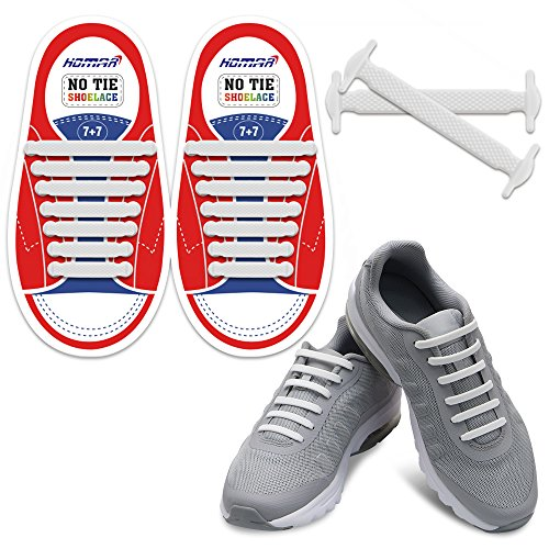 Kids Silly Rubber - HOMAR Durable Kids Sports Fan Shoelaces - Best in No Tie Shoelace Replacement Accessories - Rubber Children Elastic Athletic Running Shoelaces Flat Shoe Laces Sneakers Boots Oxford - White