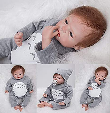 Ziyiui Reborn Baby Dolls 22 55cm Baby Reborns Boy Realistic Soft Vinyl Silicone Doll Handmade Newborn Xmas Gifts Free Magnetic Mouth Anatomically Correct Weighted Baby Doll Collect Toys For Ages 3 Dolls