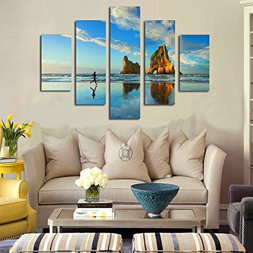 BERDECIA 5 Sets Unframed Home Motivational Beach Canvas View Giclee Artwork A Women Running By The Sea With Wave And Rocks Under Bule Clouds Sky Canvas Wall Art Painting Print Pictures Decoration