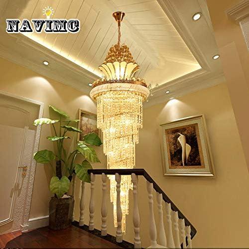 Apliques Pared Gran candelabro de cristal dorado Imperial párrafo salón de hotel escalera colgante lámpara colgante Europea Gran Iluminación, Color de Pantalla: Diameter70 x H210cm, Número de Luces: B: Amazon.es: Hogar