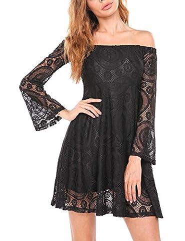 SE MIU Summer Off the Shoulder Fit and Flare Mini Casual Dress, Black, S - Flare Mini Dress