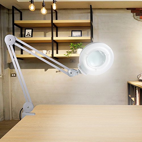 SUPER DEAL PRO Daylight Desk Table Magnifying Clamp Lamp - 5X Magnifier - Adjustable Swivel & Swing Arm For Task Craft or Workbench