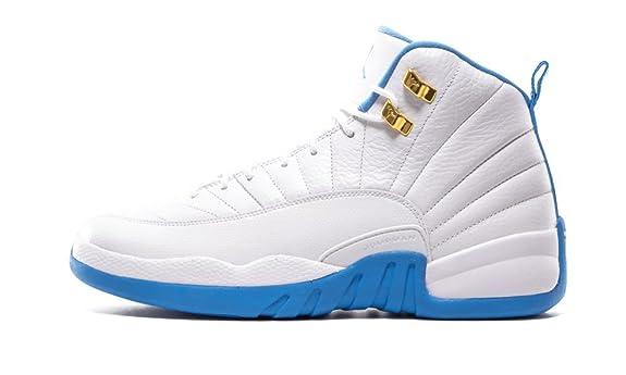 new styles 34843 7532e Amazon.com   Air Retro 12 White Metallic Gold-University Blue 510815-127  Lover Couple Leather Basketball Shoes for Men Women Men 42.5EU 9 D£¨M US    ...